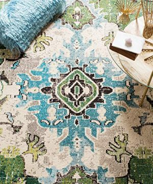 Safavieh Monaco Collection MNC243F Bohemian Chic Medallion Distressed Area Rug 8 X 10 Forest GreenLight Blue 0 2 300x360