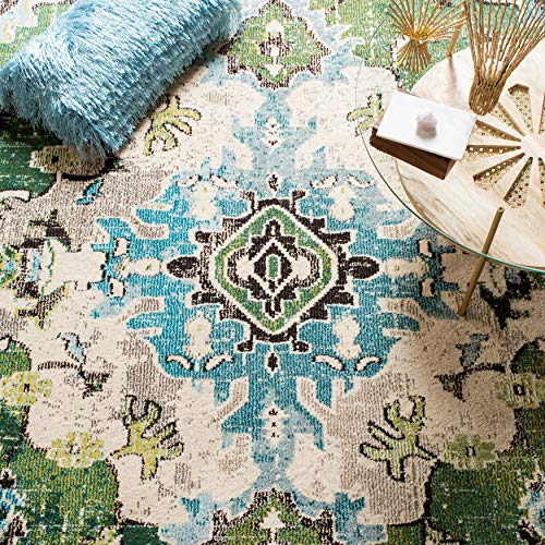Safavieh Monaco Collection MNC243F Bohemian Chic Medallion Distressed Area Rug 8 X 10 Forest GreenLight Blue 0 2
