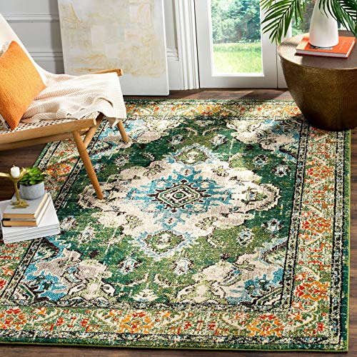 Safavieh Monaco Collection MNC243F Bohemian Chic Medallion Distressed Area Rug 8 X 10 Forest GreenLight Blue 0