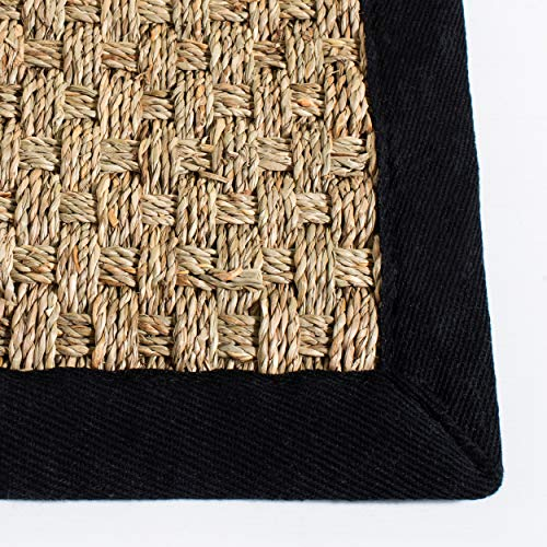 Safavieh Natural Fiber Collection NF114C Basketweave Natural And Black Summer Seagrass Area Rug 4 X 6 0 1