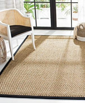Safavieh Natural Fiber Collection NF114C Basketweave Natural And Black Summer Seagrass Area Rug 4 X 6 0 300x360
