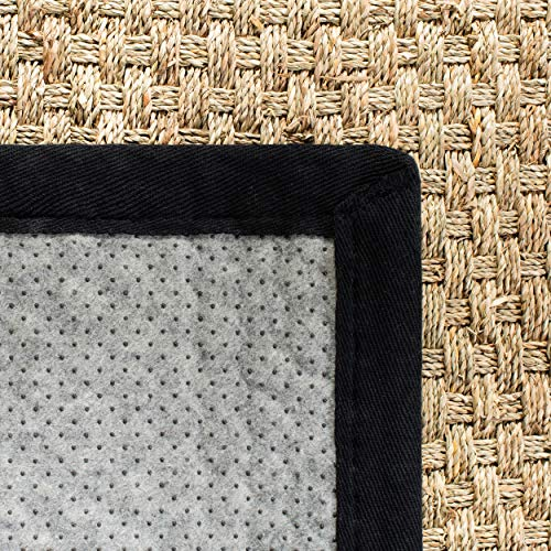 Safavieh Natural Fiber Collection NF114C Basketweave Natural And Black Summer Seagrass Area Rug 4 X 6 0 4