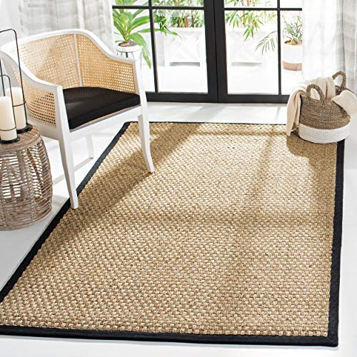 Safavieh Natural Fiber Collection NF114C Basketweave Natural And Black Summer Seagrass Area Rug 4 X 6 0