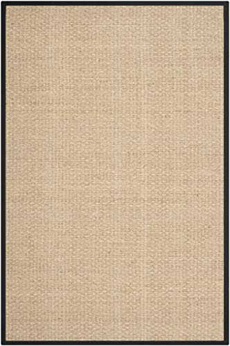 Safavieh Natural Fiber Collection NF114C Basketweave Natural And Black Summer Seagrass Area Rug 6 X 9 0