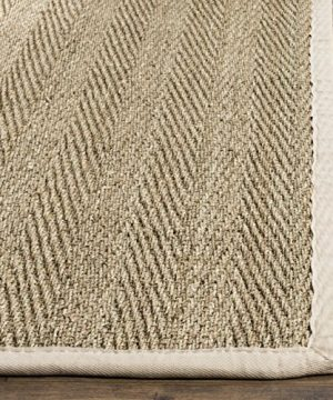 Safavieh Natural Fiber Collection NF115J Herringbone Natural And Ivory Seagrass Area Rug 5 X 8 0 0 300x360