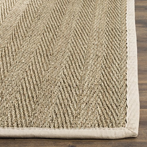 Safavieh Natural Fiber Collection NF115J Herringbone Natural And Ivory Seagrass Area Rug 5 X 8 0 0