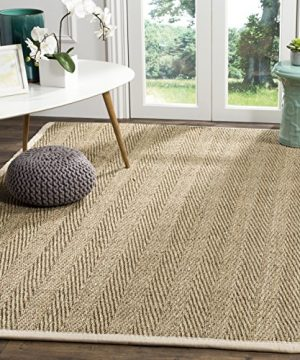 Safavieh Natural Fiber Collection NF115J Herringbone Natural And Ivory Seagrass Area Rug 5 X 8 0 300x360