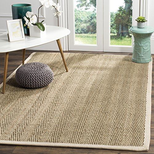 Safavieh Natural Fiber Collection NF115J Herringbone Natural And Ivory Seagrass Area Rug 5 X 8 0