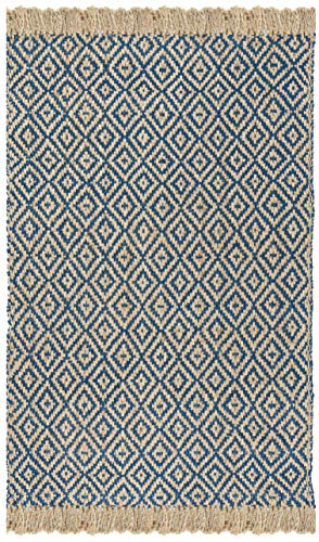 Safavieh Natural Fiber Collection NF266D Hand Woven Tropical Blue And Natural Jute Area Rug 5 X 8 0 2