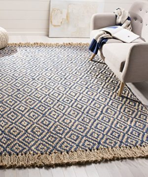 Safavieh Natural Fiber Collection NF266D Hand Woven Tropical Blue And Natural Jute Area Rug 5 X 8 0 300x360