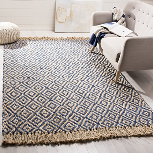 Safavieh Natural Fiber Collection NF266D Hand Woven Tropical Blue And Natural Jute Area Rug 5 X 8 0