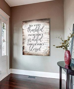 Sense Of Art So Very Thankful Forever Grateful Unbelievably Blessed Quote V13 Wood Framed Canvas Ready To Hang Family Wall Art For Home Decoration 0 300x360