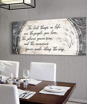 Sense Of Art The Best Things In Life Are The People You Love Quote Wood Framed Canvas Ready To Hang Family Wall Art For Home And Bedroom Decoration 42x19 Brown 0 300x360