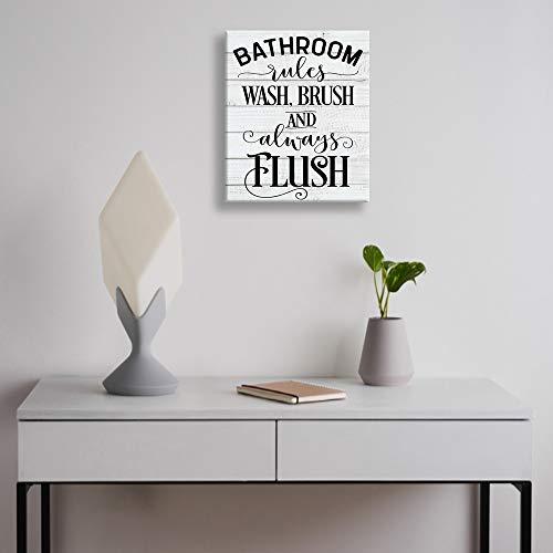 Shang Pin Vintage Bathroom Canvas Wall Art Sign Woodgrain Background Printed Bathroom Rules Plaque Frame Family Farmhouse Goals