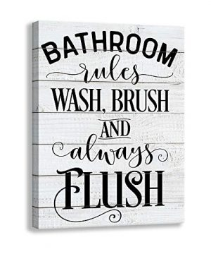 Shang Pin Vintage Bathroom Canvas Wall Art Sign Woodgrain Background Printed Bathroom Rules Plaque Frame Family Bathroom Laundry Wall Decoration Plaque 12 X 15 Inch Bathroom 0 300x360