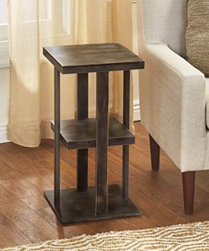 Square Side Table With Distressed Farmhouse Style Finish 3 Tiered Rustic Black 0 0 300x360