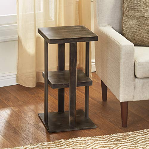 Square Side Table With Distressed Farmhouse Style Finish 3 Tiered Rustic Black 0 0