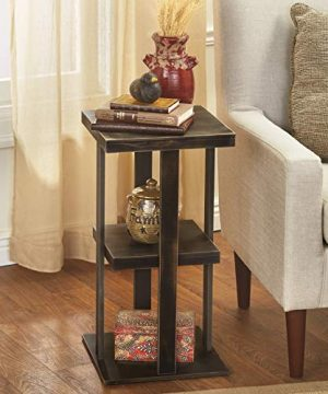 Square Side Table With Distressed Farmhouse Style Finish 3 Tiered Rustic Black 0 300x360