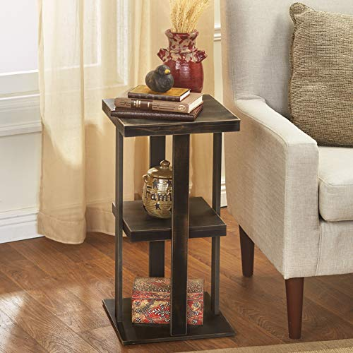 Square Side Table With Distressed Farmhouse Style Finish 3 Tiered Rustic Black 0