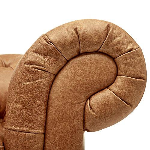 Stone Beam Bradbury Chesterfield Modern Tufted Leather Loveseat Sofa Couch 787W Cognac 0 0