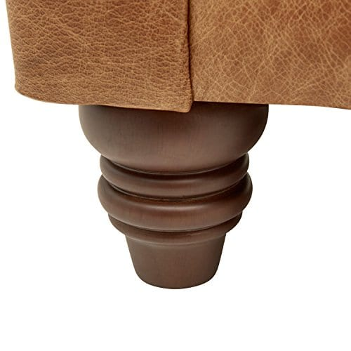 Stone Beam Bradbury Chesterfield Modern Tufted Leather Loveseat Sofa Couch 787W Cognac 0 1