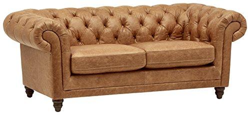 Stone Beam Bradbury Chesterfield Modern Tufted Leather Loveseat Sofa Couch 787W Cognac 0