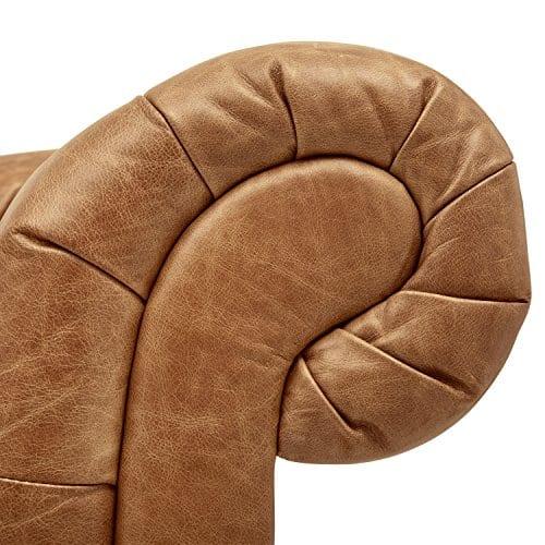 Stone Beam Bradbury Chesterfield Tufted Leather Sofa Couch 929W Cognac 0 0