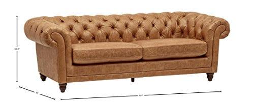 Stone Beam Bradbury Chesterfield Tufted Leather Sofa Couch 929W Cognac 0 2