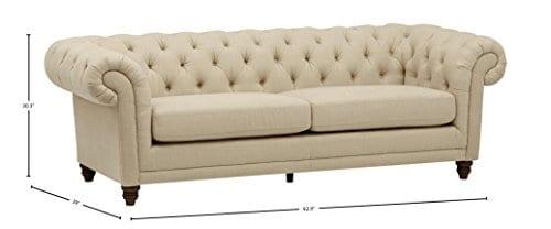 Stone Beam Bradbury Chesterfield Tufted Sofa Couch 929W Hemp 0 2