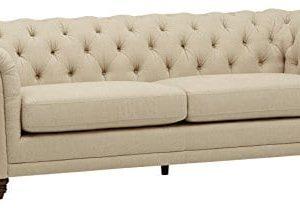 Stone Beam Bradbury Chesterfield Tufted Sofa Couch 929W Hemp 0 300x208