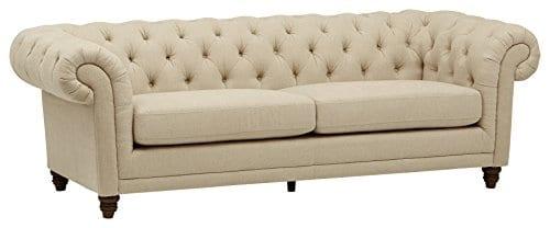 Stone Beam Bradbury Chesterfield Tufted Sofa Couch 929W Hemp 0