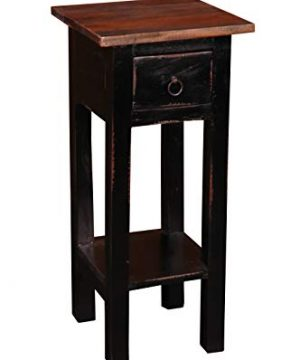 Sunset Trading Shabby Chic Cottage Side Table Small One Drawer Black Brown 0 300x360