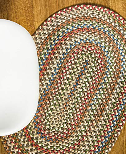 Super Area Rugs American Made Braided Rug For Indoor Outdoor Spaces Dk TaupeNatural Multi Colored 5 X 8 Oval 0 0