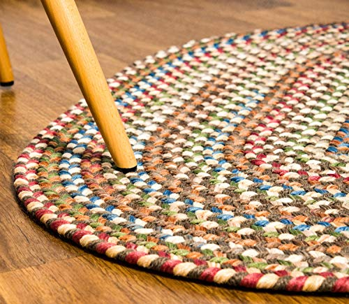 Super Area Rugs American Made Braided Rug For Indoor Outdoor Spaces Dk TaupeNatural Multi Colored 5 X 8 Oval 0 1