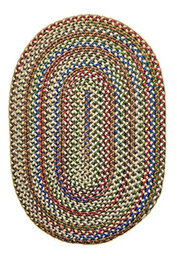 Super Area Rugs American Made Braided Rug For Indoor Outdoor Spaces Dk TaupeNatural Multi Colored 5 X 8 Oval 0 3