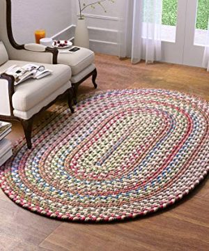 Super Area Rugs American Made Braided Rug For Indoor Outdoor Spaces Dk TaupeNatural Multi Colored 5 X 8 Oval 0 300x360