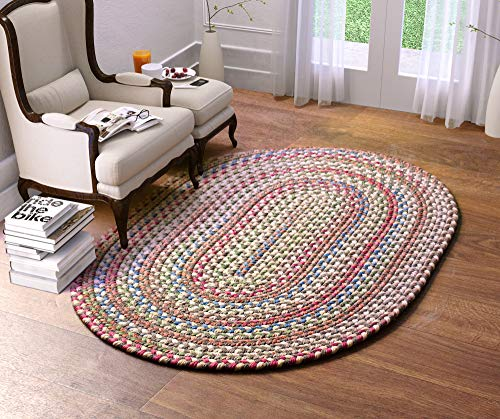 Super Area Rugs American Made Braided Rug For Indoor Outdoor Spaces Dk TaupeNatural Multi Colored 5 X 8 Oval 0