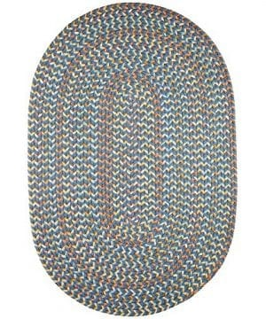 Super Area Rugs Confetti Braided Rug Traditional Rug Textured Durable Blue Casual Decor Carpet 3 X 5 Oval 0 300x360