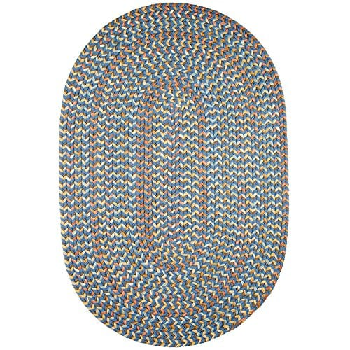 Super Area Rugs Confetti Braided Rug Traditional Rug Textured Durable Blue Casual Decor Carpet 3 X 5 Oval 0