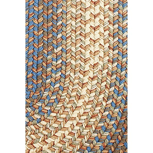 Super Area Rugs Hartford 4 X 6 Oval Braided Rug Blue Beige IndoorOutdoor Rug Primitive Washable Carpet 0 0