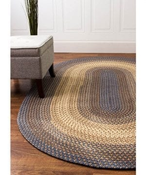 Super Area Rugs Hartford 4 X 6 Oval Braided Rug Blue Beige IndoorOutdoor Rug Primitive Washable Carpet 0 3 300x360
