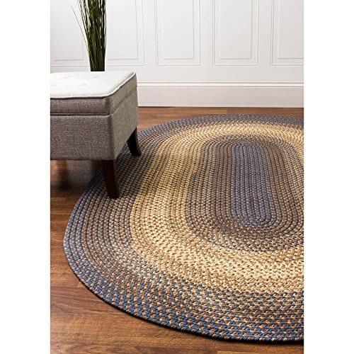 Super Area Rugs Hartford 4 X 6 Oval Braided Rug Blue Beige IndoorOutdoor Rug Primitive Washable Carpet 0 3