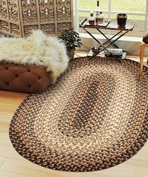 Super Area Rugs Hartford 5 X 8 Oval Braided Rug Taupe Gray IndoorOutdoor Rug Primitive Washable Carpet 0 300x360