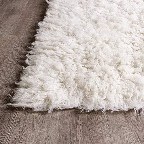 Super Area Rugs Organic Wool Flokati Rug White 8 X 10 Shag Carpet 0 3