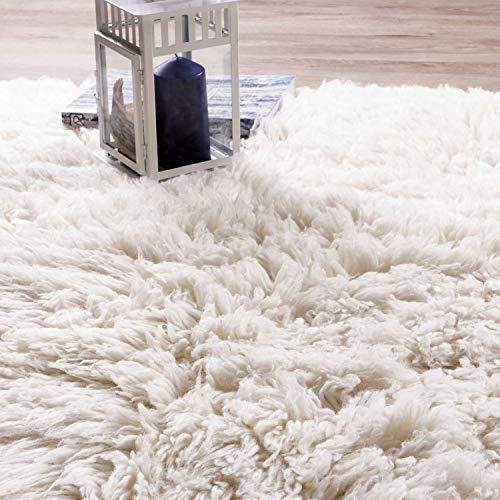 Super Area Rugs Organic Wool Flokati Rug White 8 X 10 Shag Carpet 0 4