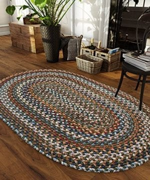 Super Area Rugs Tribeca Premium Wool Braided Rug Green Blue Mauve 3 X 5 Oval 0 300x360