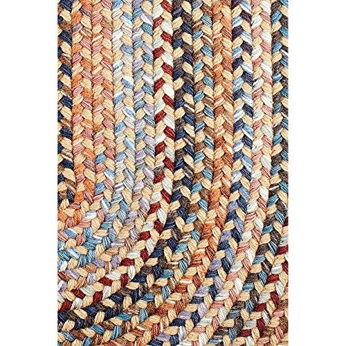 Super Area Rugs Tribeca Premium Wool Braided Rug Wheat Blue Mauve 5 X 8 Oval 0 0