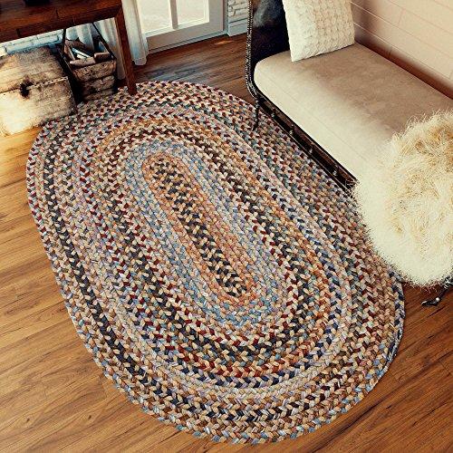 Super Area Rugs Tribeca Premium Wool Braided Rug Wheat Blue Mauve 5 X 8 Oval 0 2