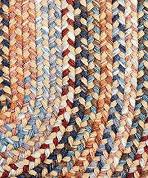 Super Area Rugs Tribeca Premium Wool Braided Rug Wheat Blue Mauve 5 X 8 Oval 0 3 300x360
