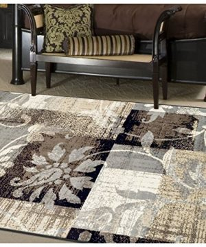 Superior Designer Pastiche Area Rug Distressed Geometric Floral Patchwork Pattern 4 X 6 Chocolate 0 300x360